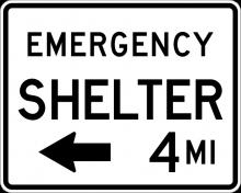 EM-7A Emergency Shelter XX Miles Sign