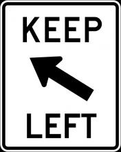 R4-8B Keep Left Sign