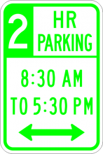 R7-108 Two Hour Parking xx am to xx pm Sign