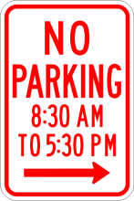 R7-2A No Parking xx am to xx pm Sign