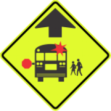 S3-1 School Bus Stop Ahead Sign