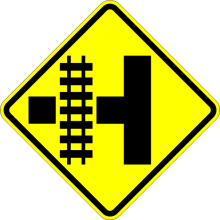 W10-3 Railroad Crossing and Intersection Advanced Warning Sign