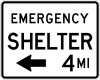 EM-7A Emergency Shelter XX Miles Sign