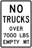 R12-3 No Trucks Over XX Lbs Empty Weight Sign