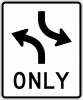 R3-9A Two-Way Left Turn Only Sign (Overhead Mount)