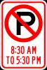 R7-2 No Parking Symbol xx am to xx pm Sign