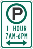 R7-23A Pay Parking One Hour xx am to xx pm Sign